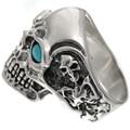 Sterling Silver Biker Mens Ring 25917