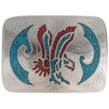 Turquoise Coral Silver Belt Buckle 24353
