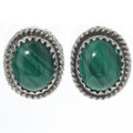 Malachite Silver Stud Earrings 28440