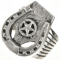 Sterling Silver Horseshoe Mens Ring 28822