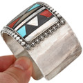Vintage Zuni Inlaid Sterling Cuff Bracelet by Herbert Esther Cellicion 0319