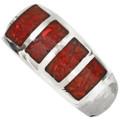 Inlaid Red Coral Navajo Mens Ring 29765