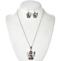 Inlaid Opal Spiny Oyster Angel Pendant Set 29522