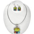 Gaspeite Turquoise Silver Necklace Set 29563