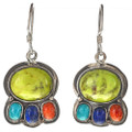Green Gaspeite Lapis Coral Turquoise Dangle Earrings 29563