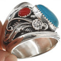 Mens Turquoise Silver Ring 27411