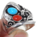 Turquoise Coral Silver Mens Ring 22739