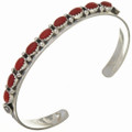 Red Coral Silver Row Bracelet 28927