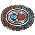 Navajo Natural Kingman Turquoise Silver Coral Design Belt Buckle 28249