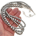 Sterling Navajo Pearl Three Strand Necklace 24573