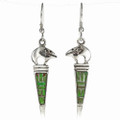 Green Gaspeite Silver French Hook Earrings 29561