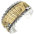 Silver Gold Feathers Cuff 23208