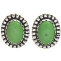 Green Turquoise Silver Post Earrings