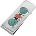 Turquoise Coral Navajo Money Clip 11604