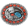 Genuine Turquoise Coral Bear Claw Belt Buckle 29189