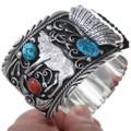 Navajo Mens Silver Elk Watch Turquoise Coral Bracelet 20157