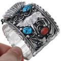 Silver Elk Navajo Watch Cuff Bracelet 20157