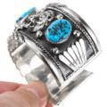 Navajo Turquoise Sterling Silver Bear Bracelet 22418