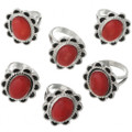 Fiery Red Cabochon Rings 28616