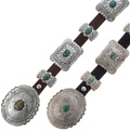 Navajo Genuine Turquoise Silver Belt 15358