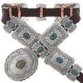 Turquoise Silver Concho Belt 15358