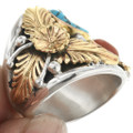 Turquoise Coral Mens Ring 29467