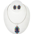 Lapis Turquoise Shell Silver Necklace Set 29180
