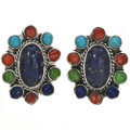 Turquoise Lapis Shell Post Earrings 29180