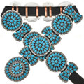 Native American Turquoise Silver Concho Belt 28816