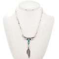 Native American Silver Feather Necklace 28024