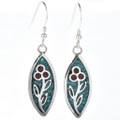 Inlaid Turquoise Coral Earrings 29090