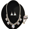 Pink Shell Turquoise Silver Necklace Set 29716