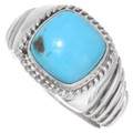 Turquoise Silver Mens Ring 22408