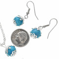 Native American Turquoise Silver Pendant Set 29700