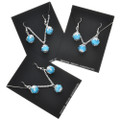 Native American Turquoise Silver Pendant Set French Hook Earrings 0449