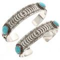 Hammered Sterling Turquoise Bracelet 25119