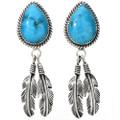 Turquoise Silver Post Dangle Earrings 27559