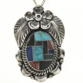 Inlaid Native American Silver Pendant 29043