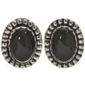 Black Onyx Silver Stud Earrings 28622
