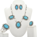 Navajo Turquoise Silver Jewelry Set 25138