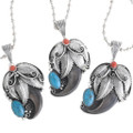 Turquoise Coral Bear Claw Navajo Pendants 24739