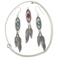 Silver Turquoise Feather Pendant Earrings Set 26959