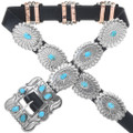 Turquoise Silver Navajo Concho Belt 15758