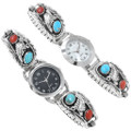Authentic Native American Sterling Silver Watch Turquoise Coral Gemstones 24504