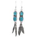 Turquoise Silver Feather Dangle Earrings 29503