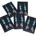 Navajo Silver French Hook Turquoise Earrings 29503