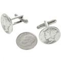 Navajo Coin Silver Cuff Links 19619
