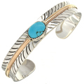 Navajo Kingman Turquoise Silver Gold Bracelet 28276
