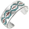 Inlaid Turquoise Coral Southwest Cuff 29505