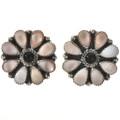 Navajo Pink Shell Onyx Cluster Earrings 28871